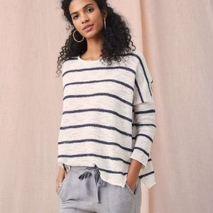 Loft Grey and White Slouchy Sweater Drop Shoulder